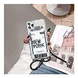 DAKJFFF Correa de Cinta de la Cadena del Cable Entradas Ciudad de Nueva York, Collar de la Caja del teléfono Suave for el iPhone 11 MAX Pro X XS XR 7 8 6S Plus SE 2020