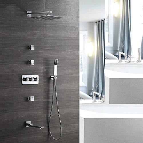KAIBINY Spray de metal moderno de plata del baño de cobre Dentro de la pared de la ducha oculta Set 4 Función Embedded Box ducha de mano Sistema superior cuadrada agua caliente y fría del grifo hermos