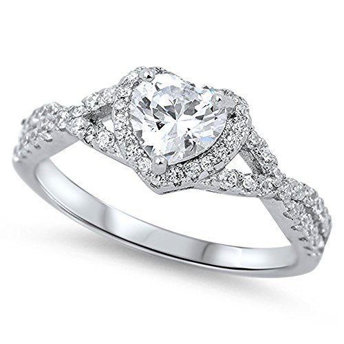 Heart Clear CZ Halo Promise Ring .925 Sterling Silver Infinity Band Size 4