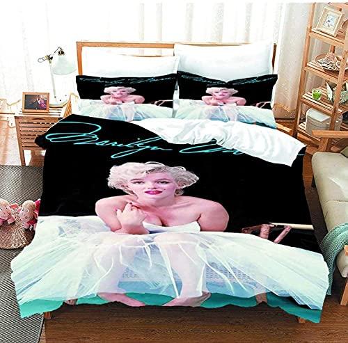 Ropa De Cama 140x200 cm Marilyn Monroe 3 Piezas Juego de Funda de Edredón 3D Impresión Juego de Cama 1 Funda Nórdica Cama con Cierre de Cremallera y 2 Funda de Almohad