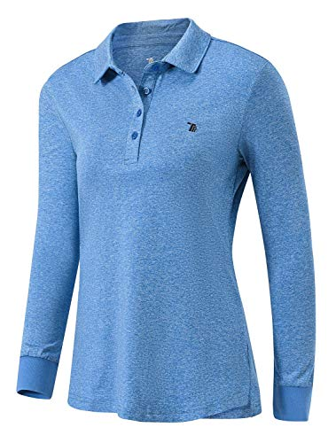 Rdruko Women's Long Sleeve Polo Golf Shirts Casual Sports T-Shirts with Thin Fleece(Dark Blue, US L)
