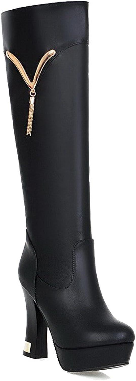 AllhqFashion Women's Solid PU High-Heels Round Closed Toe Zipper Boots