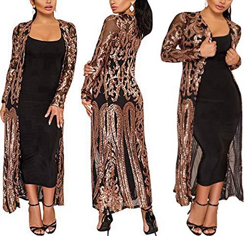 PROMLINK Sequin Cardigan for Women Open Front Sparkle Dress Jacket(M,Black)