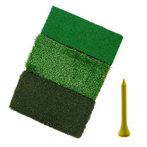 BESPORTBLE 1 Set/2 Stück Rasen Schlagmatte Putting Green Grasroots Matte Tragbare Übung Schaukel Matte Indoor Outdoor Sport Zubehör mit Tee-Halter