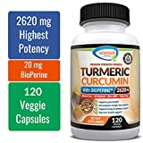 Turmeric Curcumin with Highest Potency of 95% Standardized Curcuminoids 2620 mg with BioPerine. Enhanced Strength Premium Formula for Joint Support, Anti-inflammatory and Antioxidant - 120 Capsules