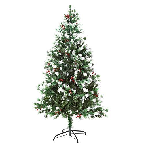 HOMCOM Sapin de Noël Artificiel Branches enneigées Ø 75 x 150H cm 554 Branches épines Imitation Nordmann Grand réalisme 41 Houx