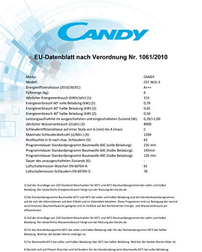Candy CST 362L-S Toplader Waschmaschine