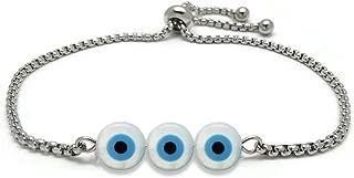 Lucky Eye Bracelet Blue Evil Eye Bracelet Anklet DIY Stainless Steel Chain for Women Girl Jewelry Gifts Adjustable