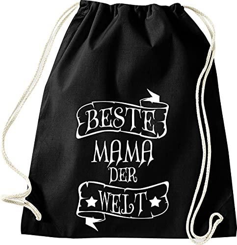 Shirtinstyle - Sacca da palestra, per la famiglia, gli amici, idea regalo con scritta 'Best Mama', 46 x 36 cm