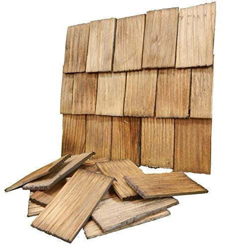 Tejas de techo, golpeado a mano, color nogal 200 Piezas 4x2,3x0,3cm