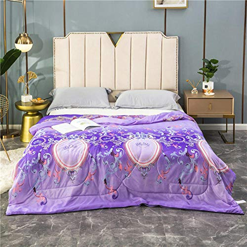 MUCHENXI All Season Duvet,Washable summer quilt, beautiful skin air-conditioning quilt, single and double thin spring and autumn quilt-Purple 2_150*200cm