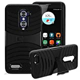 ZTE Zmax Pro Case, HJ Power[TM] for ZTE [Zmax Pro]/Z981 [Blade X max] (MetroPCS, Cricket)-Rugged V Stand Case Black