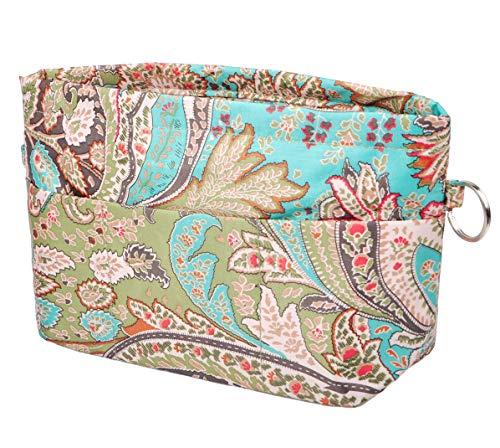 Vercord Purse Organizer Insert Bag Tote Handbags Pocketbook Inserts Organizers Zipper 11 Pockets Peacock Flower Small