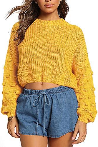 Pulôver feminino de malha com mangas compridas e blusas curtas da Fixmatti, 03-yellow, Small