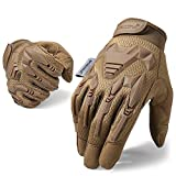 WTACTFUL Rubber Guard Full Finger Tactical Gloves for Racing Riding Cycling Bike Bicycle Tactical Airsoft Paintball Hunting Motorbike Mechanic Work Gear Men Brown Size Large