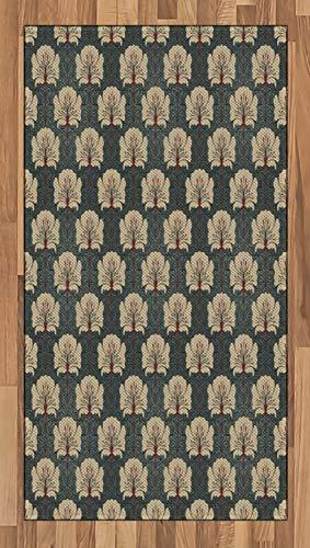 ABAKUHAUS Blumen Teppich, Jugendstil-Mohnblumen, Deko-Teppich Digitaldruck, Färben mit langfristigen Halt, 80 x 150 cm, Zinnoberrot Grau Tan