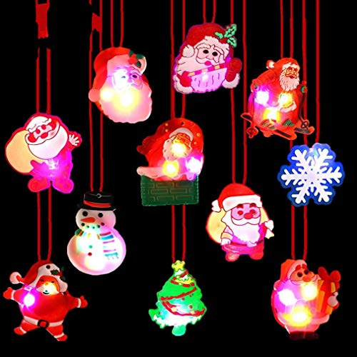 Christmas LED Light Up Necklace 15 PCS Glow in The Dark Pendant Toys Christmas Party Favors LED Glow Necklaces for Kids (Christmas)
