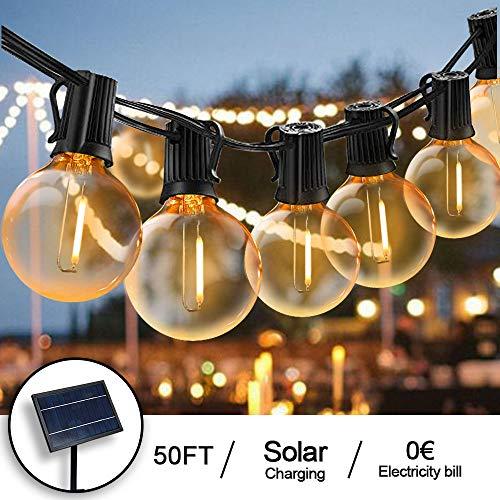 Svater Solares Cadena de Bombillas Las Luces de la Secuencia de Los 52 Bulbos Luces del Patio Para el Café del PóRtico del Partido