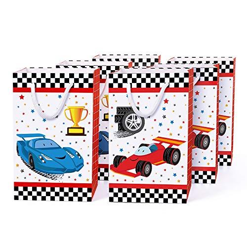 WERNNSAI Bolsas de Fiesta con Asas de Coche de Carreras - 16 PCS Suministros para Fiestas de Autos de Carrera para Dulces Regalos Golosinas Niños Cumpleaños Baby Shower de Fiesta Bolsas de Mano