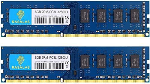 Rasalas PC3-12800U 16GB Kit DDR3 1600MHz (2x8GB) DDR3L 12800U RAM 2Rx8 DDR3L-1600 Udimm CL11 1,35 V Desktop Computer Arbeitsspeicher