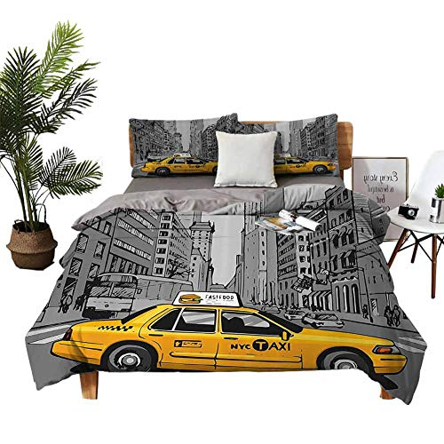 Four-piece bedding Home Textile Series bedding Bedding cover sets New York City Metropolitan Buildings and Taxi Cartoon Sketchy Image Charcoal Grey and Yellow Apartment Dormitory W80