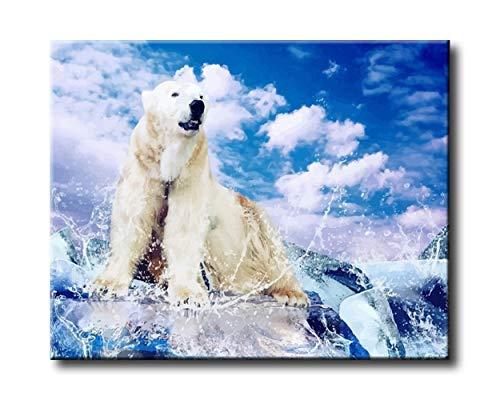Shukqueen Kits de peinture à l'huile de bricolage, peinture par numéro pour adulte, acrylique Painting-white Ours 40,6 x 50,8 cm, Frameless,Just Canvas