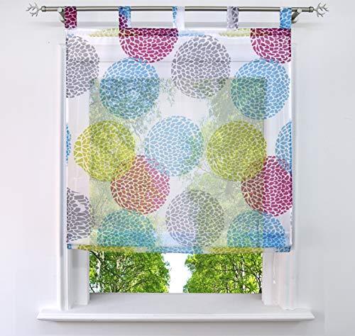 BAILEY JO Estor con motivos de círculos, impresión transparente, cortina (ancho x alto 80 x 140 cm, multicolor con trabillas)