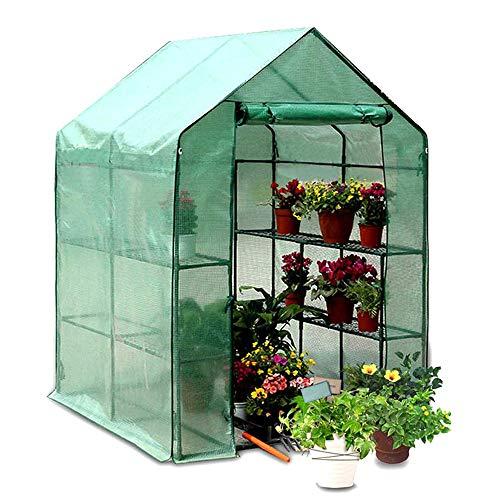 Windyeu Abdeckung Haube für Gewächshaus Treibhaus Foliengewächshaus Ersatzfolie mit Fenster und UV-Schutz (Grün)
