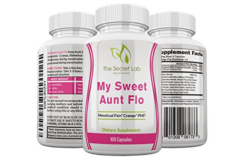 My Sweet Aunt Flo Menstrual Cramp Pain Relief Formula. All Natural Herbal Relief for Abdominal Pain, Breast Tenderness, Improves Mood. Turmeric, Dong Quai, Ginger, Vitamin E, B6 and More 100 Capsules.