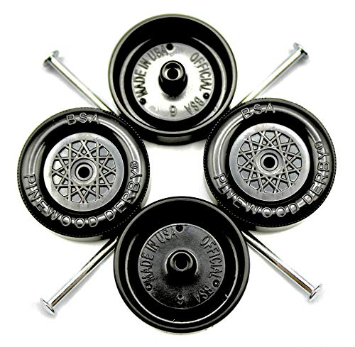 Pine Derby Car BSA Speed Wheels and Axles Kit | Professionally Lathed | Pinewood Car Wheels