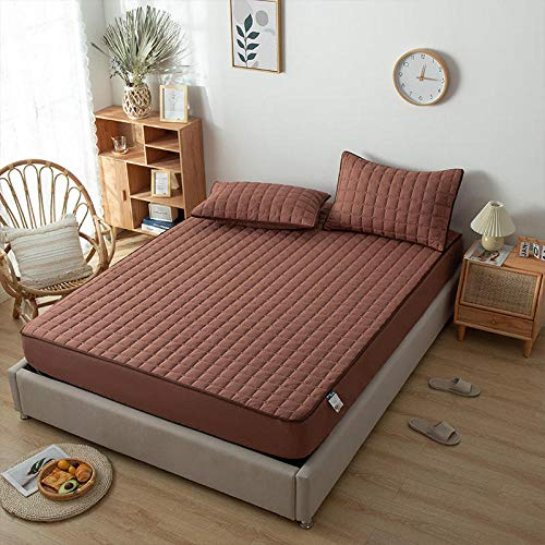 YFGY Bedding Fitted Sheets Super king,Solid Color Embossed Waterproof Mattress Protector, Fitted Sheet Cover for Mattress Thick Soft for Bed brown 200 * 220+30cm