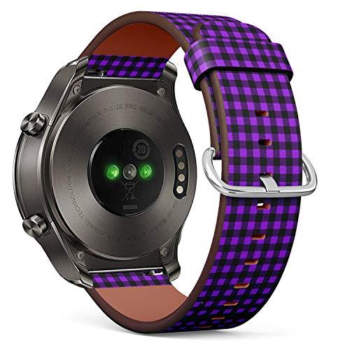 Compatible con Huawei Watch 2 Classic - Correa de Reloj de Cuero con pasadores de liberación rápida (Buffalo Tartan Plaid Proton Purple)