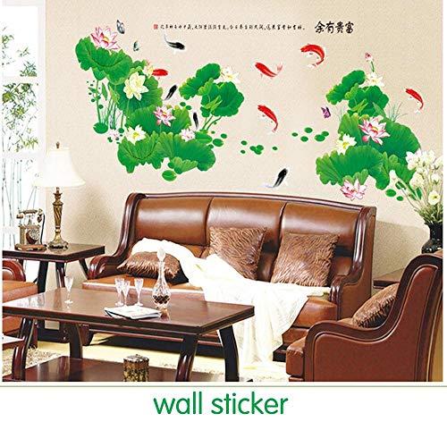 Wandaufkleber im chinesischen Stil gemalt Wandfernseher Wohnzimmer reich großen Aufkleber Lotus Wandaufkleber