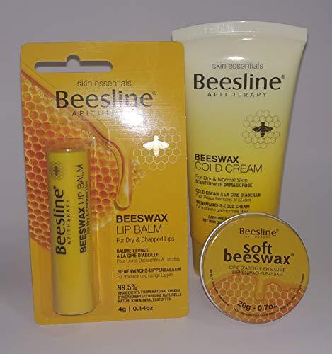 Beesline Pack 3 producten dagelijks gebruik hydratatie met bijenwas. Hydrateert op natuurlijke wijze lippen en lichaam. Lippenstift + koude room + balsem 20g