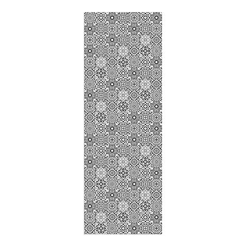 Alfombra Vinílica Cocina Baldosas, 200 x 70 x 0.22 cm, Varios Tamaños, Color Gris, Alfombra de Vinilo, Base Antideslizante, Lavable y Recortable, ALV-101