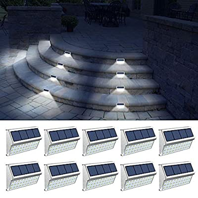 ROSHWEY Solar Deck Lights Outdoor 30 LED Stainless Steel Step Lamps Waterproof Security Lights for Stairs Fence Pathway Wall Save Electricity and Money (Pack of 10, Cool White Light)