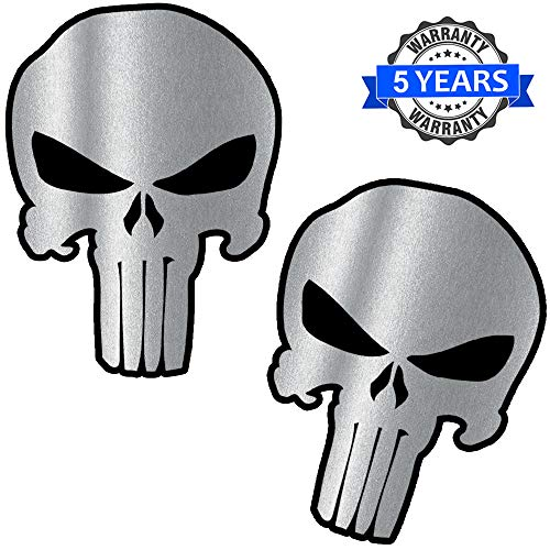 Biomar Labs® 2 Stück Vinyl Punisher Silber Schädel Totenkopf Aufkleber Autoaufkleber Stickers Auto Moto Motorrad Fahrrad Helm Fenster Tuning B 220