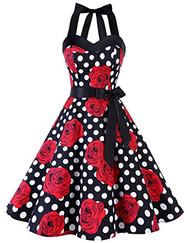 DRESSTELLS Karnevalskostüme Damen Neckholder Rockabilly 1950er Polka Dots Punkte Vintage Retro Cocktailkleid Petticoat Faltenrock Black Red Rose Dot XL