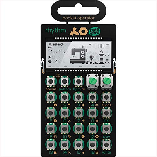 Teenage Engineering PO-12 Rhythm - Drum Machine Pocket Operator (16 Step Sequenzer, 16 Sounds, 16 Pattern, 16 Effekte, Lautsprecher, Line In/Out, LCD-Display)