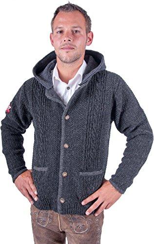 Almwerk Herren Strickjacke Toni mit Abnehmbarer Kapuze in braun, grau und anthrazit, Größe Herren:50;Farbe:Anthrazit/Grau