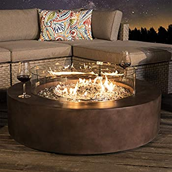 COSIEST Outdoor Propane Fire Pit Coffee Table w Dark Bronze 42-inch Round Base Patio Heater 50,000 BTU Stainless Steel Burner Wind Guard Transparent Gray Fire Glass Waterproof Cover