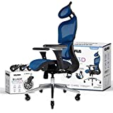 NOUHAUS Ergo3D Ergonomic Office Chair - Rolling Desk Chair with 4D Adjustable Armrest, 3D Lumbar Support and Extra Blade Wheels - Mesh Computer Chair, Gaming Chairs, Executive Swivel Chair (Blue)