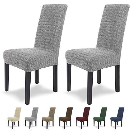 SCHEFFLER-Home Anna 2 Fundas de sillas, Estirable Cubiertas, Moderna extraible flexibel Funda con Banda elastica, Gris
