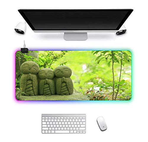 Gaming Mouse Pad Computer Mat Desk Pad Gaming Accessories Mousepad RGB Led Mouse Game Pc Mats for Mice Green Villain 90X30cm
