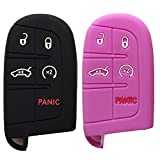 Qty 2 (Black and Purple) Key Case Cover Jacket Silicone Rubber Fob Keyless Remote Holder Skin fit for JEEP FIAT DODGE Smart Remote Key Case