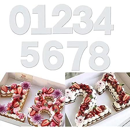 QAQHZW 9 pièces Moules à Gâteau, Moule Number Cake pour la cuisson gâteaux en forme de chiffres 0–8 Moules,pour Crème de Gâteau de Mariage d'anniversaire Bonbons(8 inch)