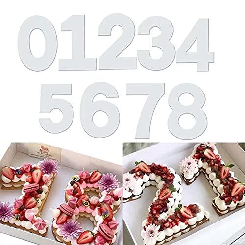 QAQHZW - Juego de 9 moldes para tartas con números, 0-8 números, herramienta para hornear pasteles, para glaseado en capas, frutas, pasteles, bodas, cumpleaños, fiestas, decoración (12 pulgadas)