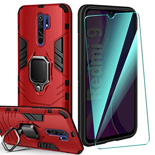 AROYI Carcasa Xiaomi Redmi 9 Funda Silicona & Protector Pantalla Cristal Templado, Suave Armadura híbrida Robusta Bumper Case Anti-arañazos Caja para Funda Xiaomi Redmi 9 Smartphone - Rojo