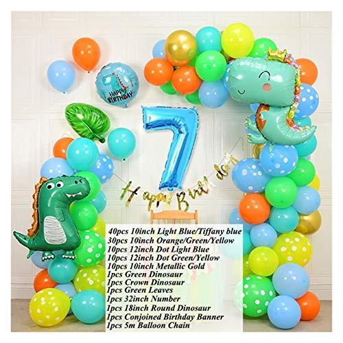 JSJJAES Globos 107 Piezas de Dibujos Animados Dinosaurio cumpleaños Globos de cumpleaños 32 Pulgadas número de lámina Globos bebé 1 2 3 años de cumpleaños Decoraciones de Fiesta niños Ducha