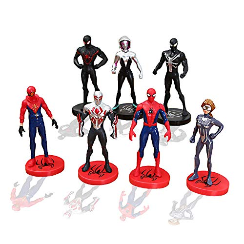 7 Pieces Mini Super Heroes Action Figures,Spider-Man:Into The Spider-Verse Toy Sets to Kids Gift,Cake Decoration Toys